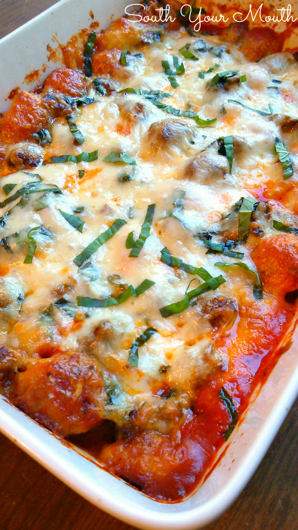Garlic Knot Casserole with Sausage Meatballs