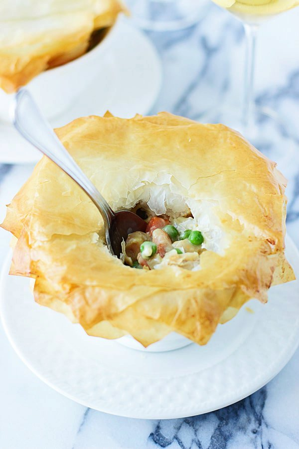 Skinny Chicken and Vegetable Pot Pie with Phyllo