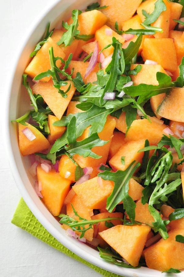 Cantaloupe Arugula Salad with Poppy Seed Dressing