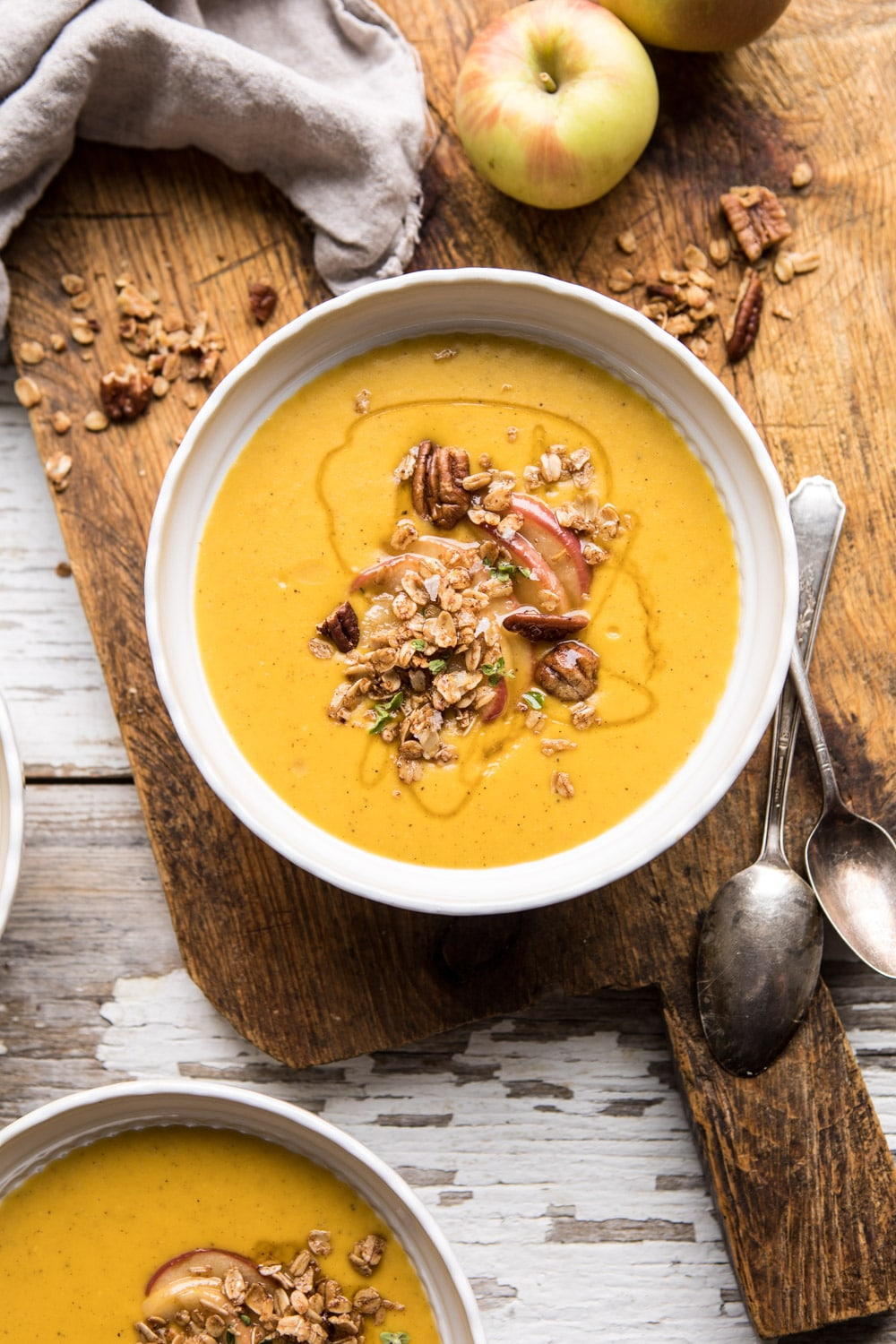 Cheddar Apple Butternut Squash Soup with Cinnamon Pecan Crumble